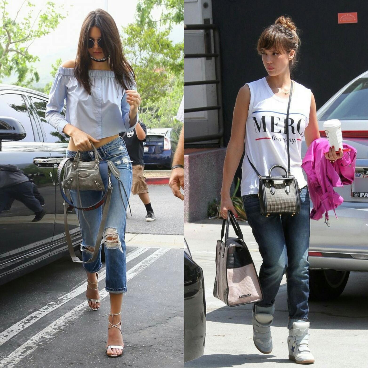 Jessica Alba and Kendall Jenner rock mini bags
